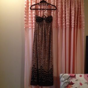 Carole Little Cheetah Halter Maxi Dress Small